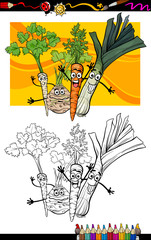 comic vegetables group for coloring book