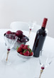 Red wine and fruits on a table