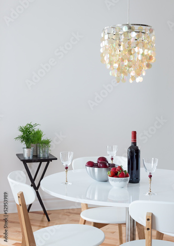 Dining room decorated with beautiful chandelier