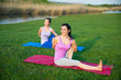 doing yoga outdoors