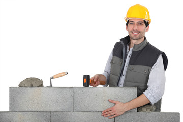 Man building wall
