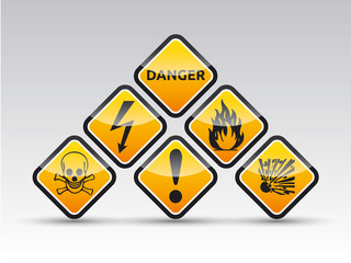 Danger round corner warning sign set
