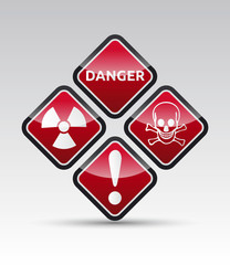 Danger round corner warning sign set