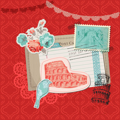 Scrapbook Design Elements - Italy Vintage Card with Stamps