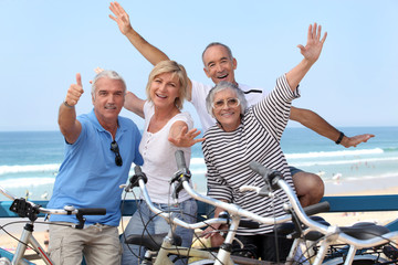 group of senior people on bikes