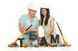 Forming a team: Cheerful man and woman building team-word.
