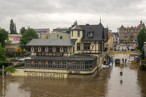 Flood at Blaues Wunder, Loschwitz bridge, Dresden, Saxiony, Germ