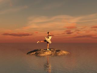 Bailarina de ballet en una isla