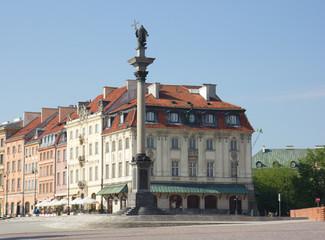 King Sigismund column (erected in 1644) on castle square,  in ol