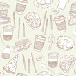 Food seamless pattern. Hand drawn vector illustration
