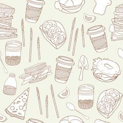 Food seamless pattern. Hand drawn vector illustration