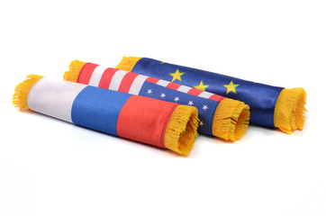 European Union, Russian Federation and USA flags