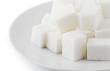 Sugar cubes in saucer