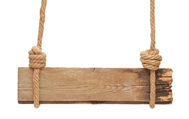 blank wooden sign hanging on a rope