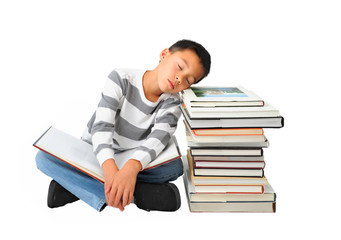 Boy Napping on Stack of Books