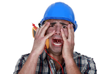 Electrician in pain after shock