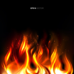 Illustration of vividly burning fire on a black background