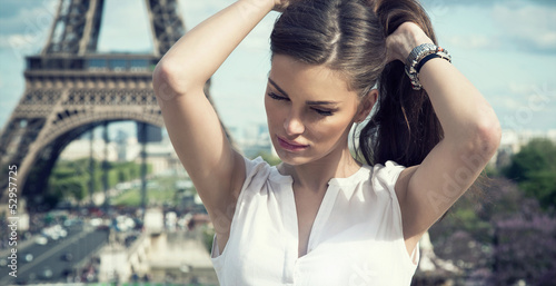 Fashion woman in romantic city