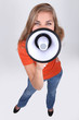 young woman talking through a megaphone
