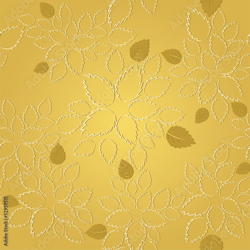 Seamless golden leaves lace wallpaper pattern