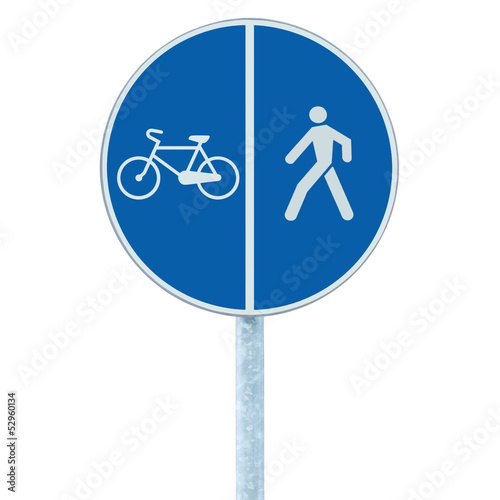 Bicycle and pedestrian lane road sign on pole post, large blue