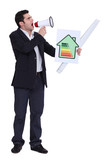 Businessman with a loudspeaker and energy rating card