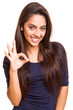 Mix race woman showing ok sign