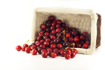 A overturn basket with spilled cherries