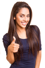 Beautiful mix race woman showing thumbs up