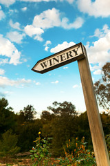 winery sign, wooden