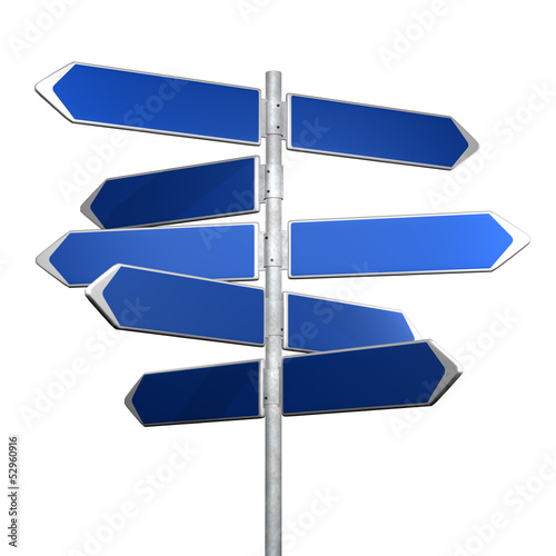 BLue directionl signs on a white background