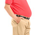 Mature man with belly posing