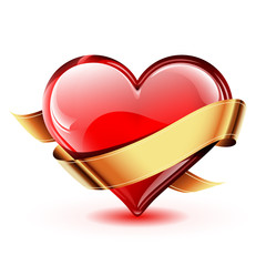 Bright and glossy vector heart with a golden ribbon