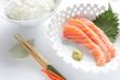Japanese cuisine, Raw Salmon Sashimi  with wasabi