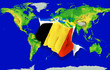 Fist in color  national flag of belgium    punching world map