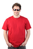 Man dressed in a red t-shirt and wearing sunglasses