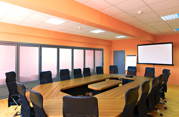 Empty business conference room interior