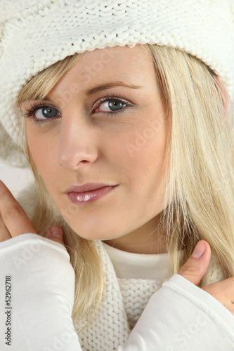 beautiful young woman dressed in white