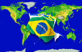 Fist in color  national flag of brazil    punching world map