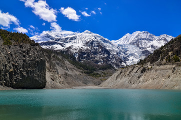 Himalayas mountain peaks and lake - Gangapurna lake