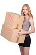 Young girl with two cartons
