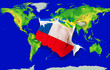 Fist in color  national flag of chile    punching world map
