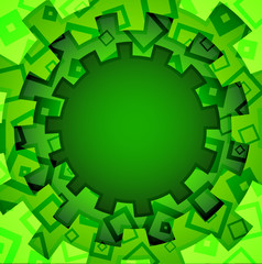 Green round abstract background with ornament