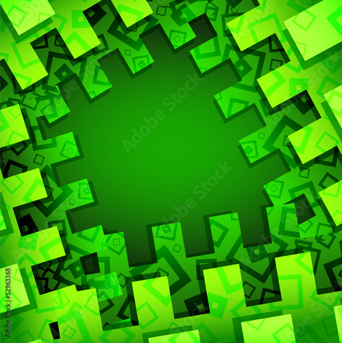 Green rectangular abstract background with ornament