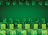 Green horizontal abstract background with ornament