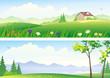 Summer landscape banners