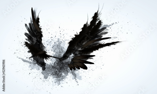 Deurstickers Vogel Black wings
