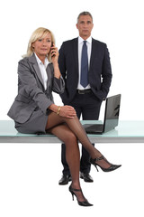 smart businessman and businesswoman, studio shot