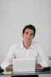 Businessman using a netbook