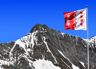 Taschhorn with Wallis flag - Swiss alps
